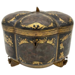 19th Century a Unique Gilt Chinese Lacquer Tea Caddy