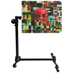 19th Century Adjustable Drafting Table in Cast Iron with Rare Skull Painting