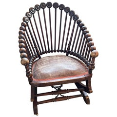 19th Century Aesthetic George Hunzinger Lollipop Rocking Chair in Working Order