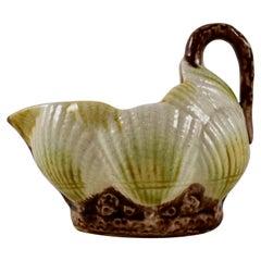 19th Century Aesthetic Movement English Majolica Sea Shell Form Creamer