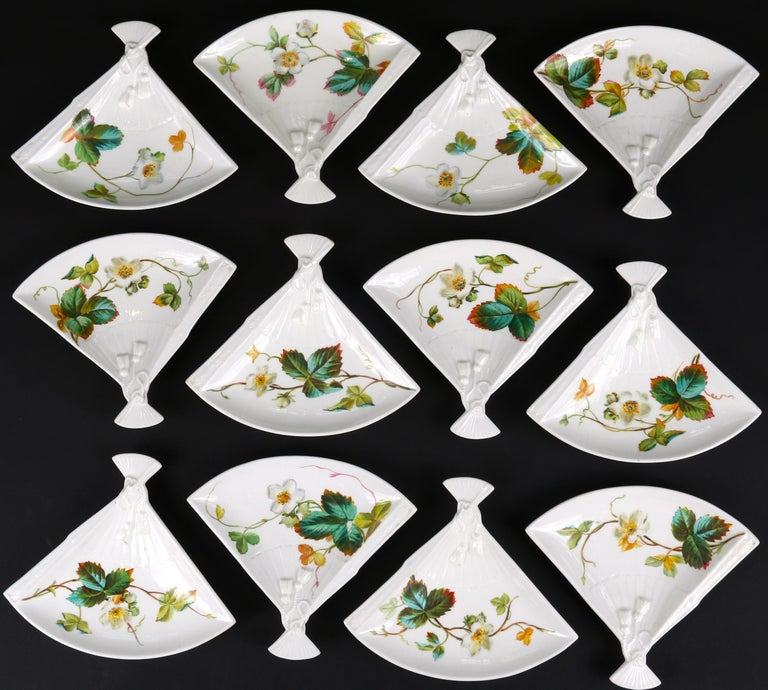 Hand-Painted 19th Century Aesthetic Movement Fan Shaped Plates For Sale