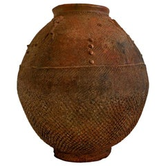 19th Century African Red Clay Water Vessel from Bambara Jidaga with Lizards