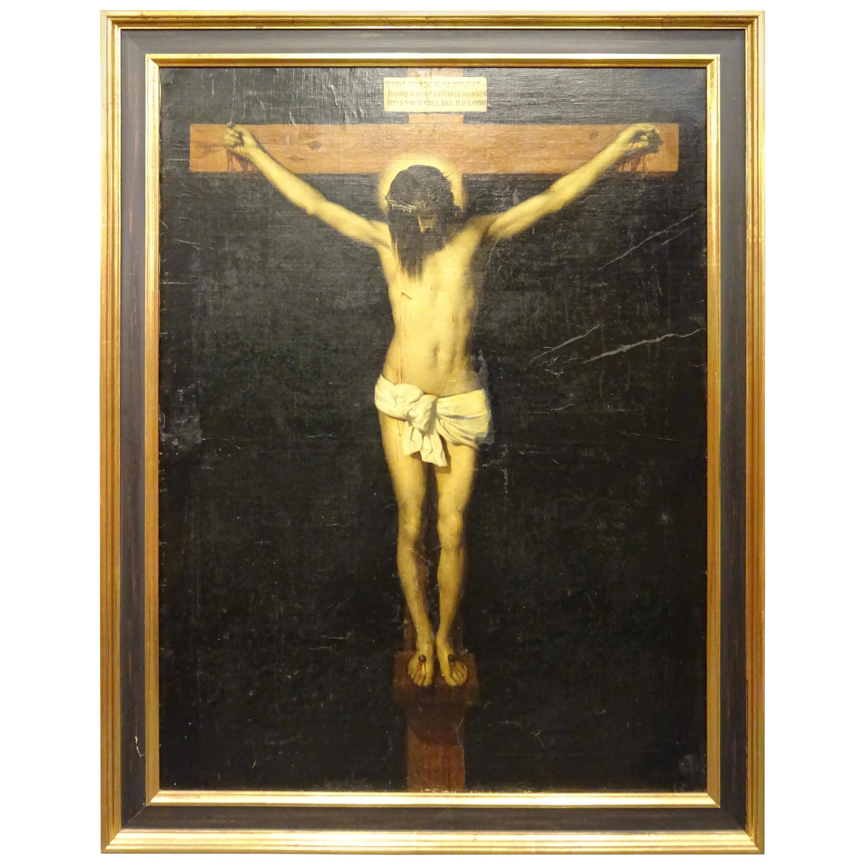 19th Century after Spanish Painter Velazquez Christ Oil on Canvas and Wood Frame