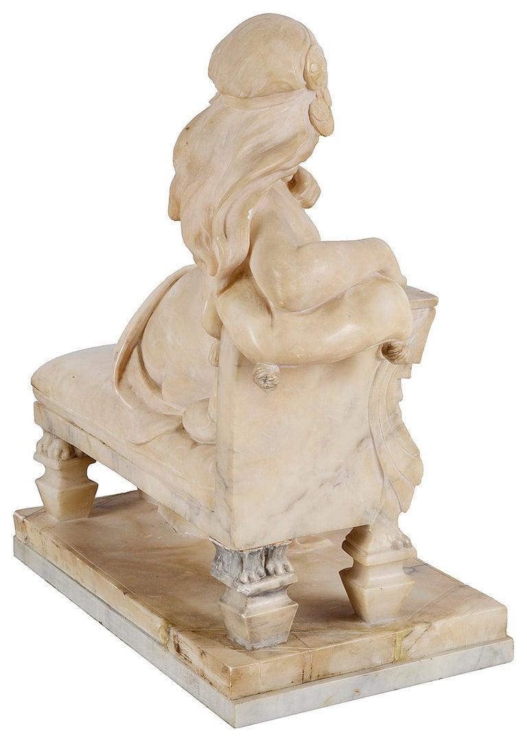 Hand-Carved 19th Century Alabaster Arab Girl, 22.5