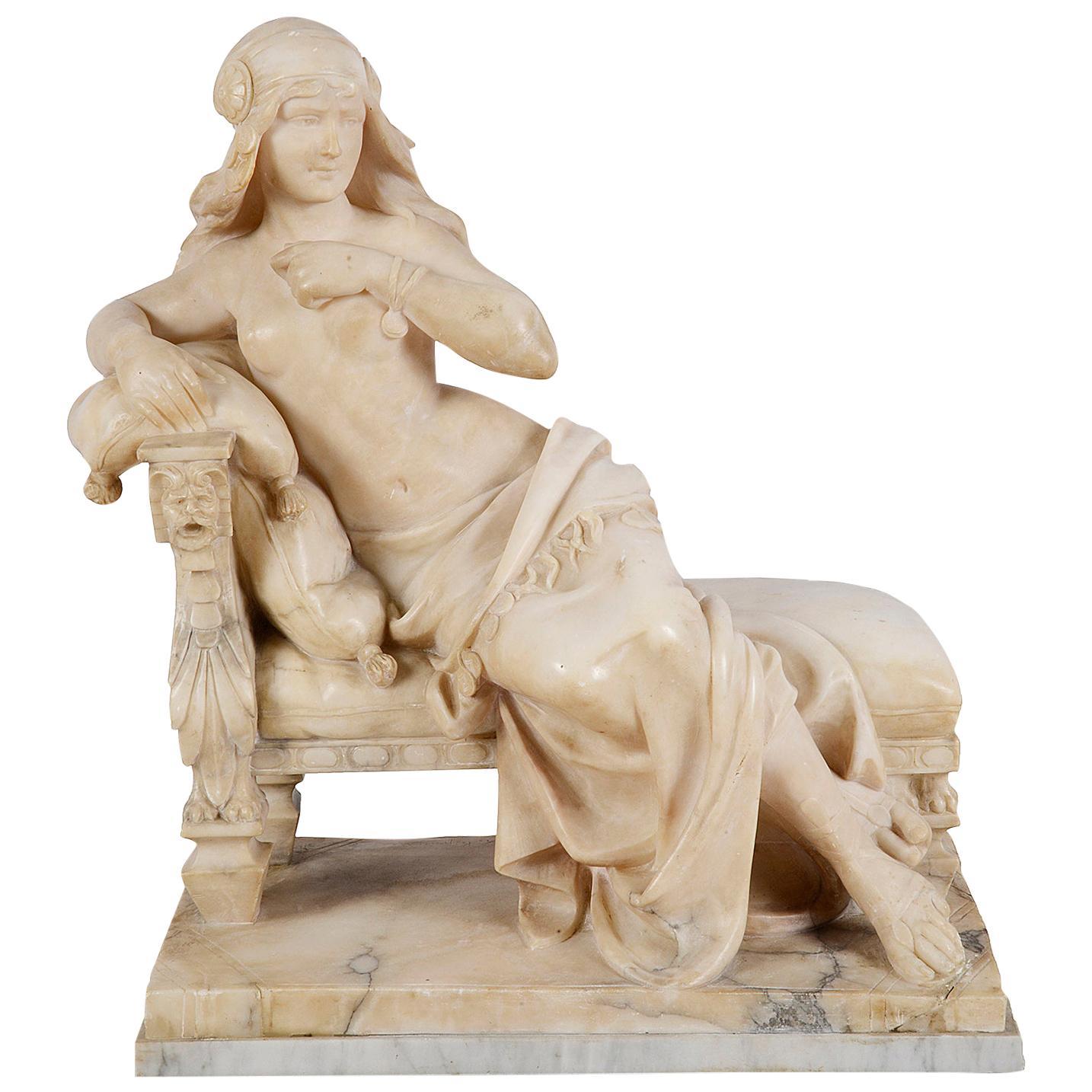 "19th Century Alabaster Arab Girl, 22.5""(52cm) high."