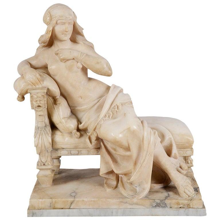 "19th Century Alabaster Arab Girl, 22.5""(52cm) high. For Sale"