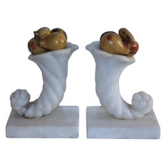 19th Century Alabaster Cornucopia Bookends with Painted Mini Fruit