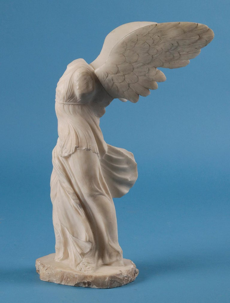 19th Century Alabaster Marble Statue Winged Victory of Nike Samothrace 4