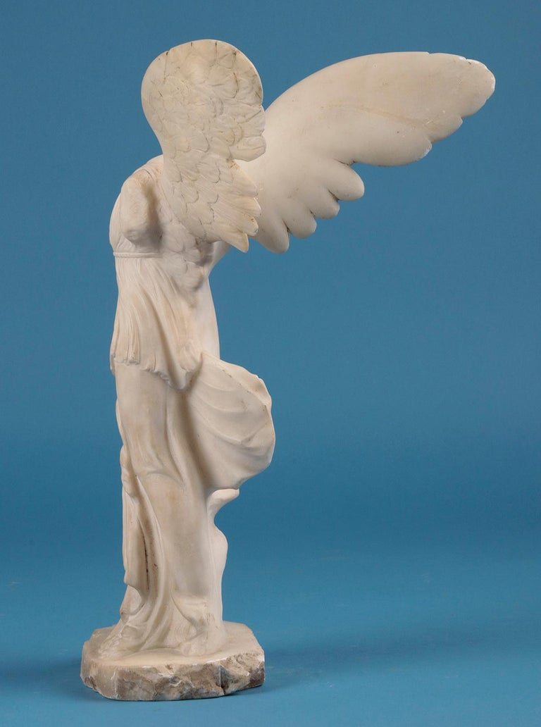 19th Century Alabaster Marble Statue Winged Victory of Nike Samothrace 6