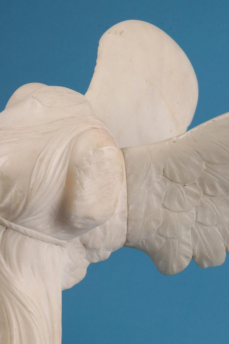 19th Century Alabaster Marble Statue Winged Victory of Nike Samothrace 9