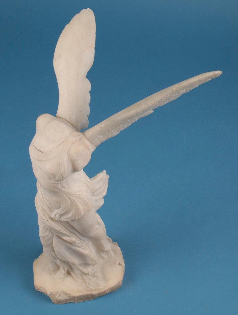 19th Century Alabaster Marble Statue Winged Victory of Nike Samothrace 10
