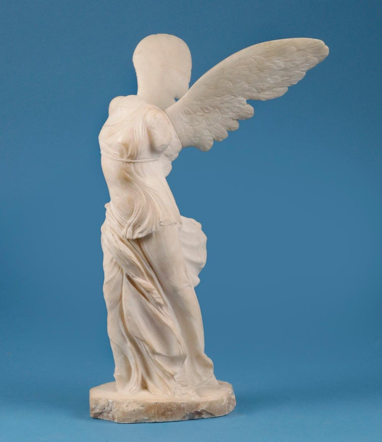 Classical Greek 19th Century Alabaster Marble Statue Winged Victory of Nike Samothrace