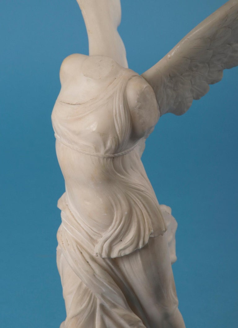 French 19th Century Alabaster Marble Statue Winged Victory of Nike Samothrace