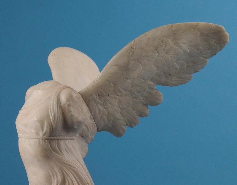 Hand-Carved 19th Century Alabaster Marble Statue Winged Victory of Nike Samothrace