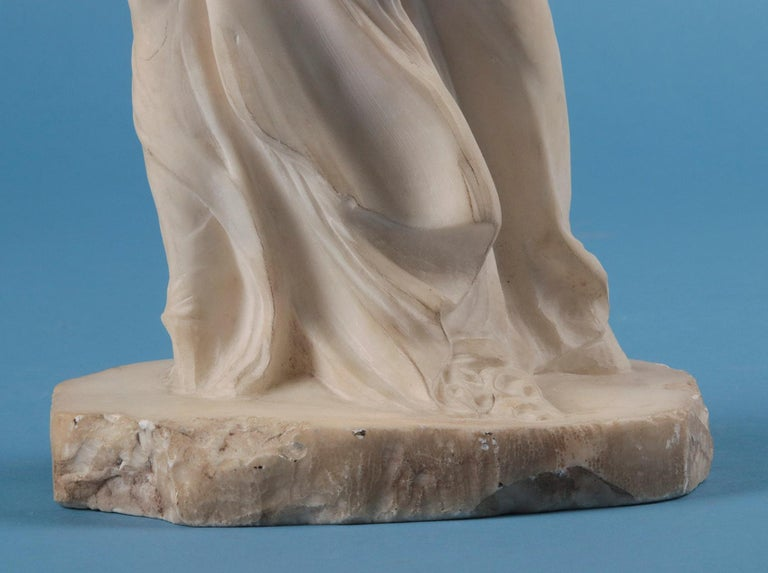 19th Century Alabaster Marble Statue Winged Victory of Nike Samothrace In Good Condition In Casteren, Noord-Brabant