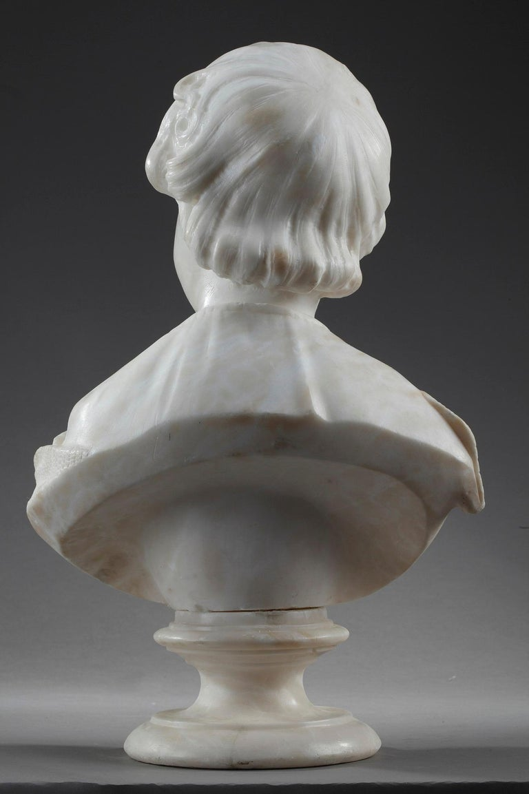19th Century Alabaster Sculpture Bust of a Young Girl For Sale 5