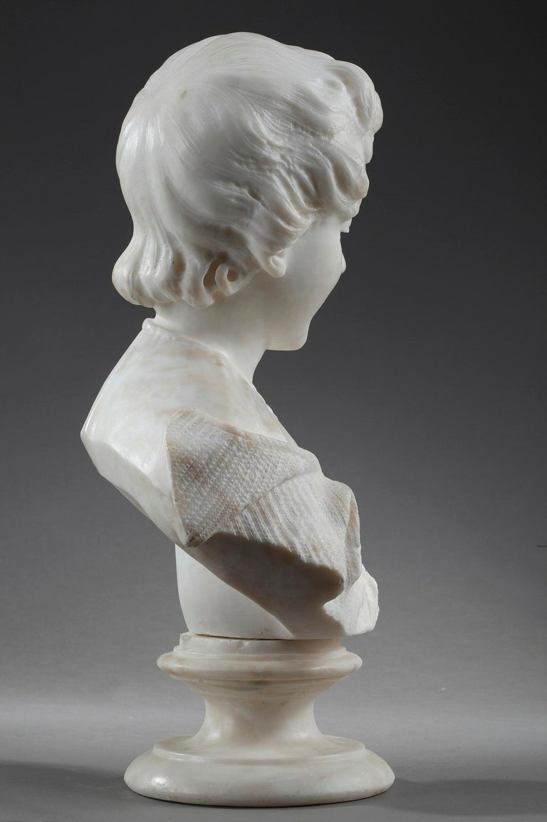 19th Century Alabaster Sculpture Bust of a Young Girl For Sale 6