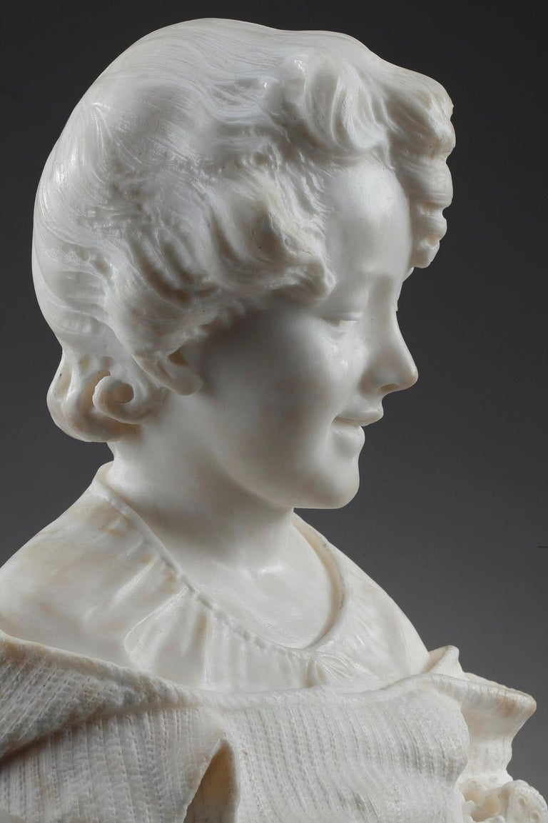 19th Century Alabaster Sculpture Bust of a Young Girl For Sale 7