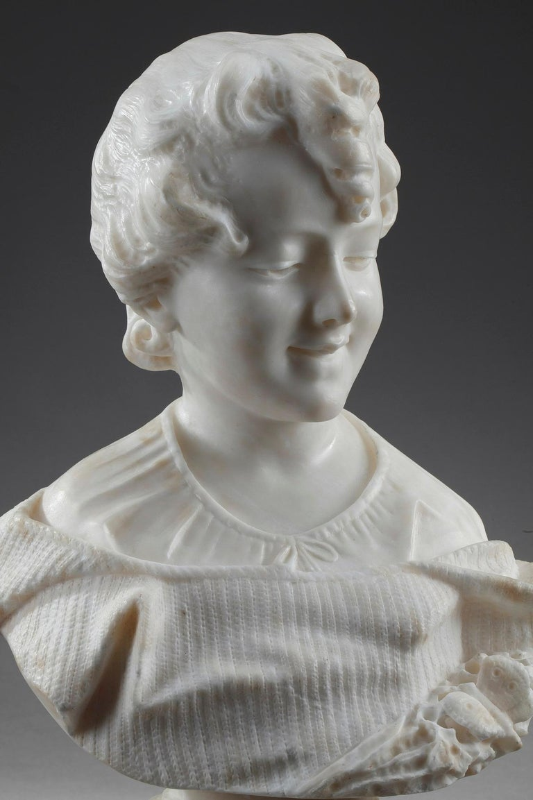 Napoleon III 19th Century Alabaster Sculpture Bust of a Young Girl For Sale