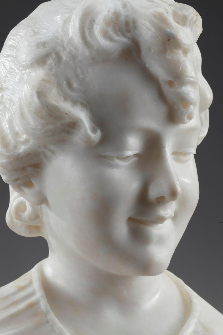 French 19th Century Alabaster Sculpture Bust of a Young Girl For Sale