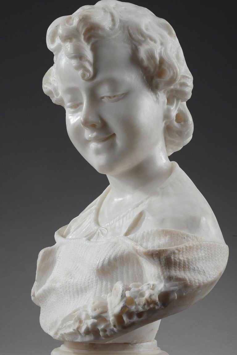 19th Century Alabaster Sculpture Bust of a Young Girl For Sale 3