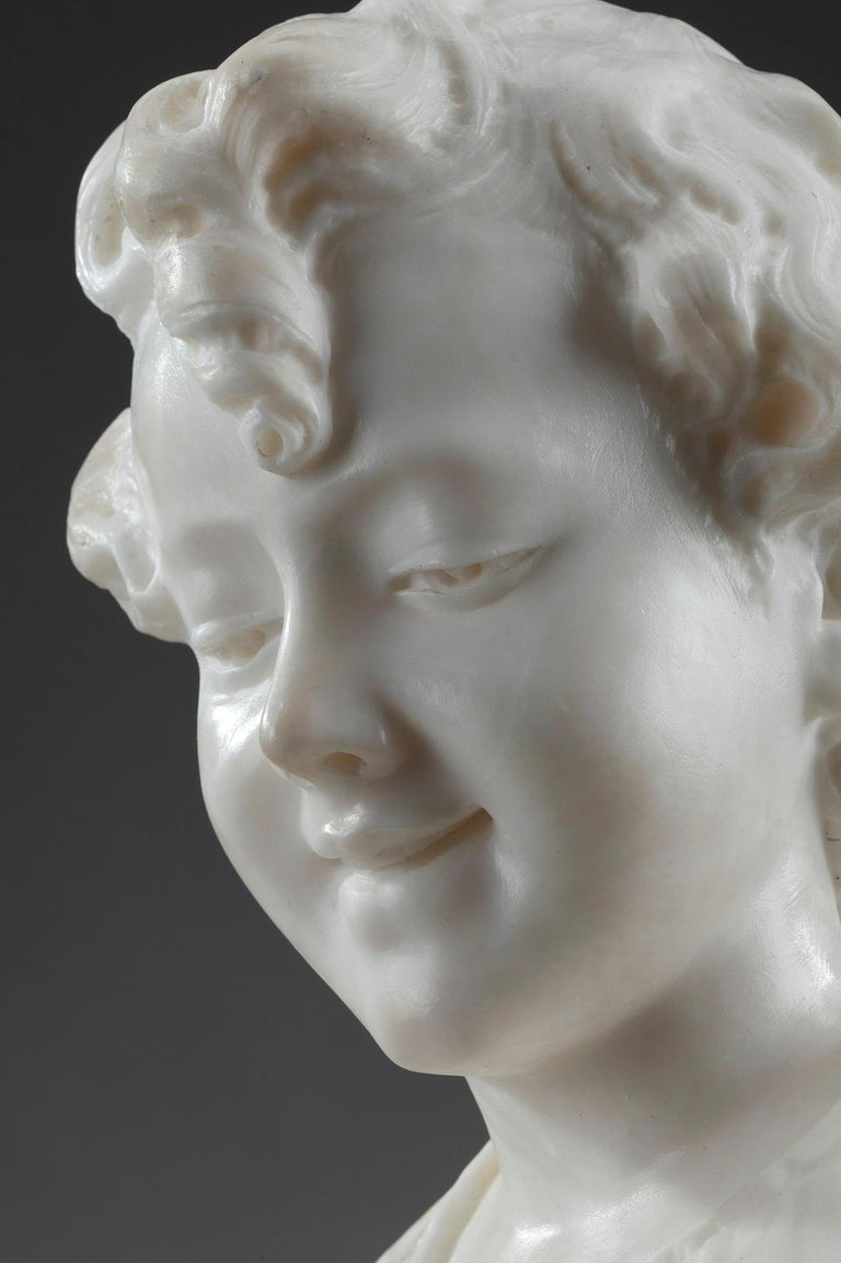 19th Century Alabaster Sculpture Bust of a Young Girl For Sale 4