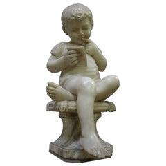 """19th Century Alabaster Sculpture """"Reading Boy"""""""
