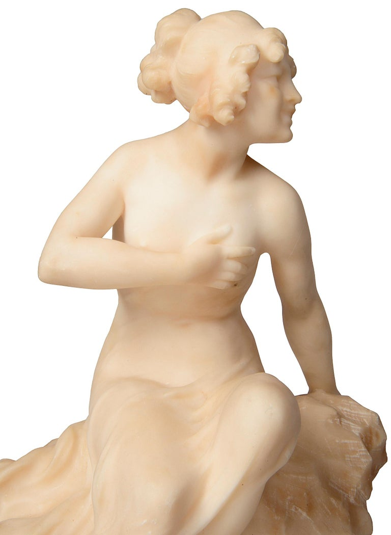 19th Century Alabaster Statue of a Young Girl Sitting on a Rock For Sale 1