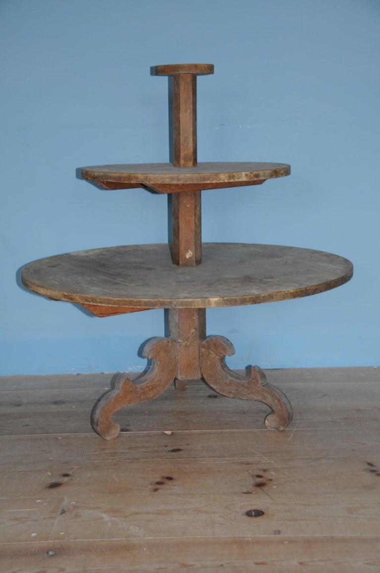 Folk Art 19th Century Allmoge Oversized Round Étagère or Plant Stand, Origin Sweden For Sale