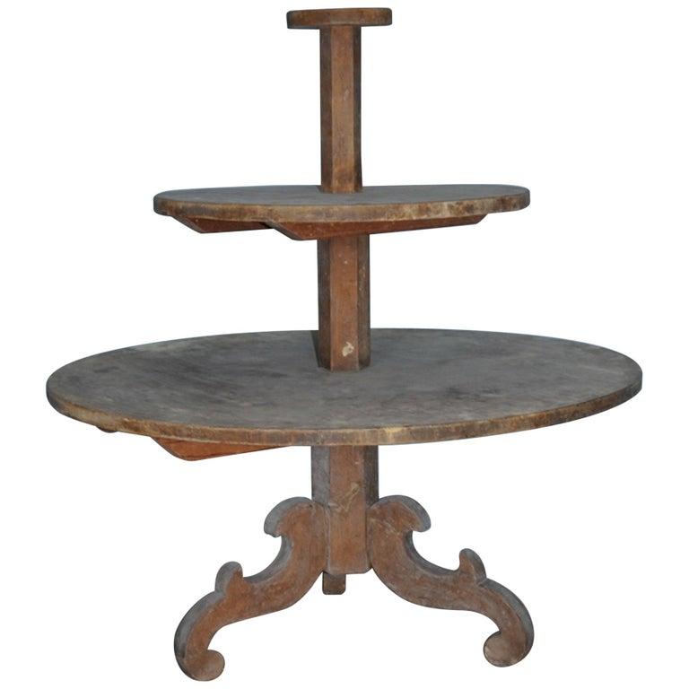 19th Century Allmoge Oversized Round Étagère or Plant Stand, Origin Sweden For Sale