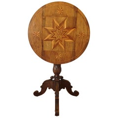 19th Century Alpine Inlaid Tilt Top Table