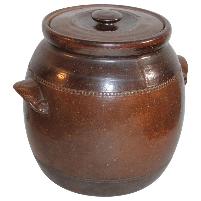 19th Century Amazing Pottery Bean Pot with Handles For Sale