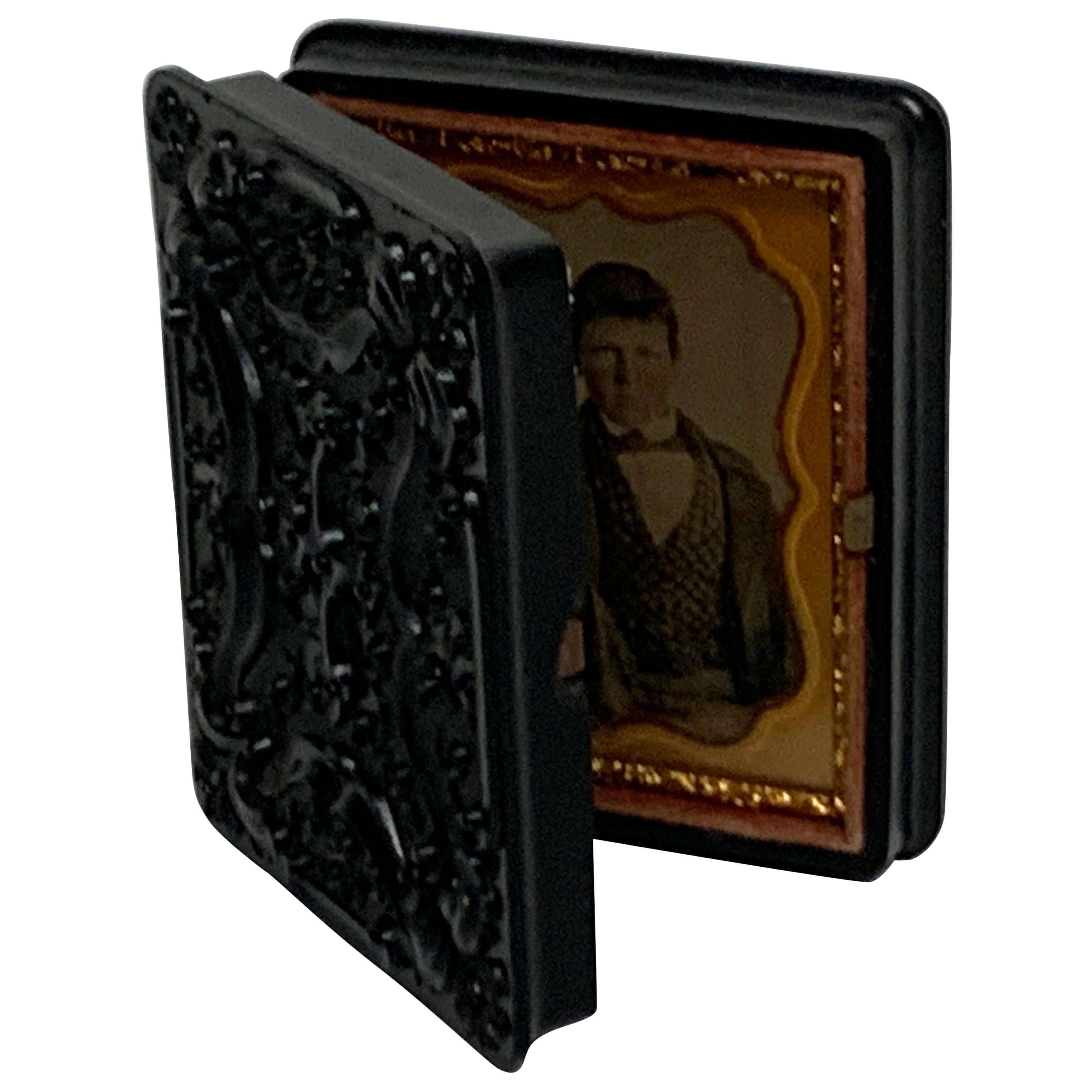 19th Century Ambrotype of a Young Male Student/ Writer, Gutta Percha Case