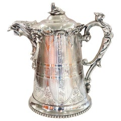 19th Century American Antique Silver Plate Pitcher by Ernest Kaufman