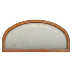 19th Century American Arch Top Greek Key Transom Window
