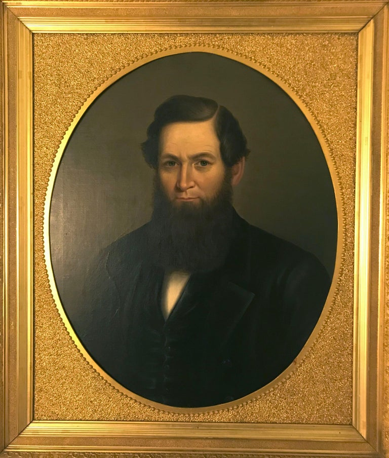 American Classical 19th Century American Artwork in Gilded Frame For Sale