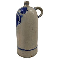 19th Century American Blue Paint Decorated Stoneware Jug W/ Handle