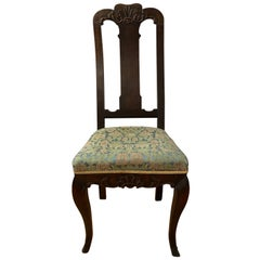 19th Century American Carved Walnut Hoof Foot Side Chair
