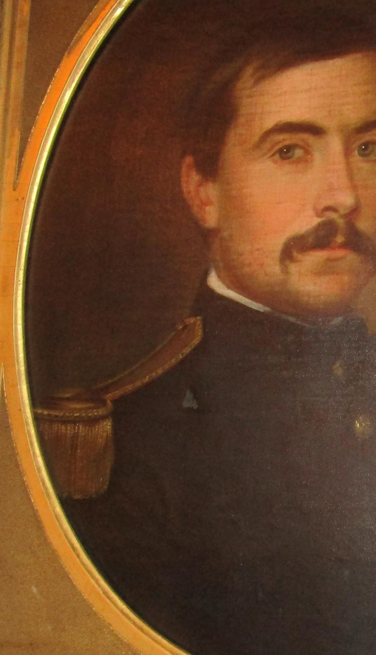 Other 19th century American Civil War Union Army Officer Framed Portrait Oil on Canvas For Sale