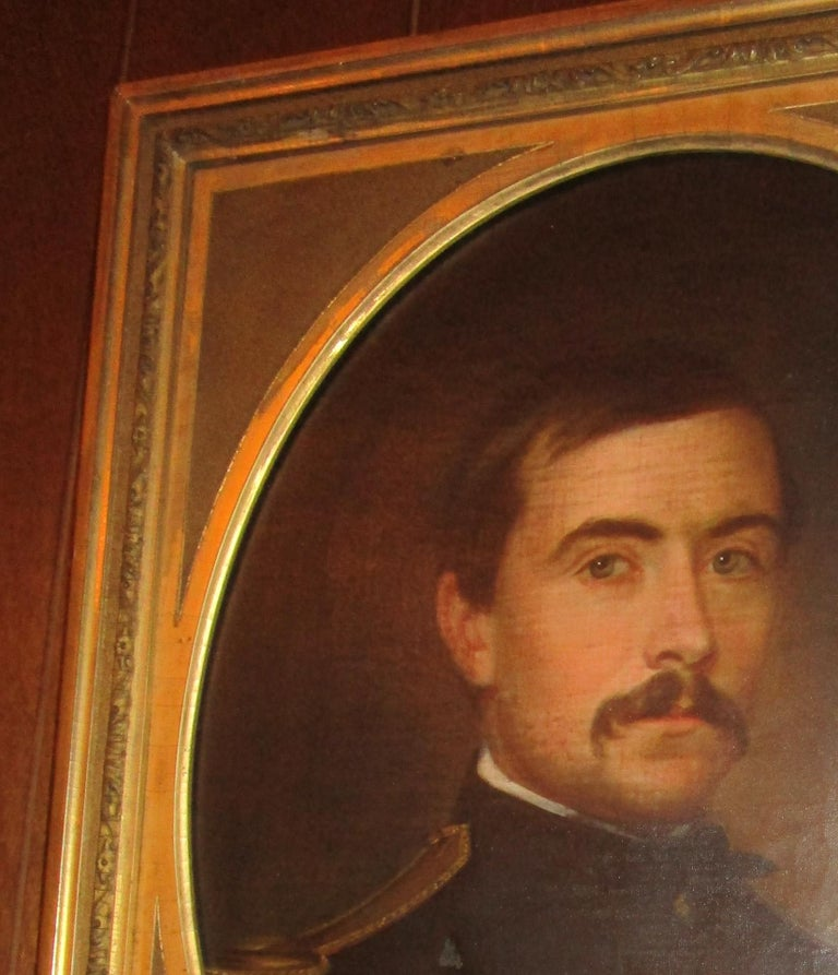 Mid-19th Century 19th century American Civil War Union Army Officer Framed Portrait Oil on Canvas For Sale