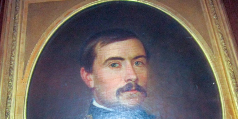 19th century American Civil War Union Army Officer Framed Portrait Oil on Canvas For Sale 1