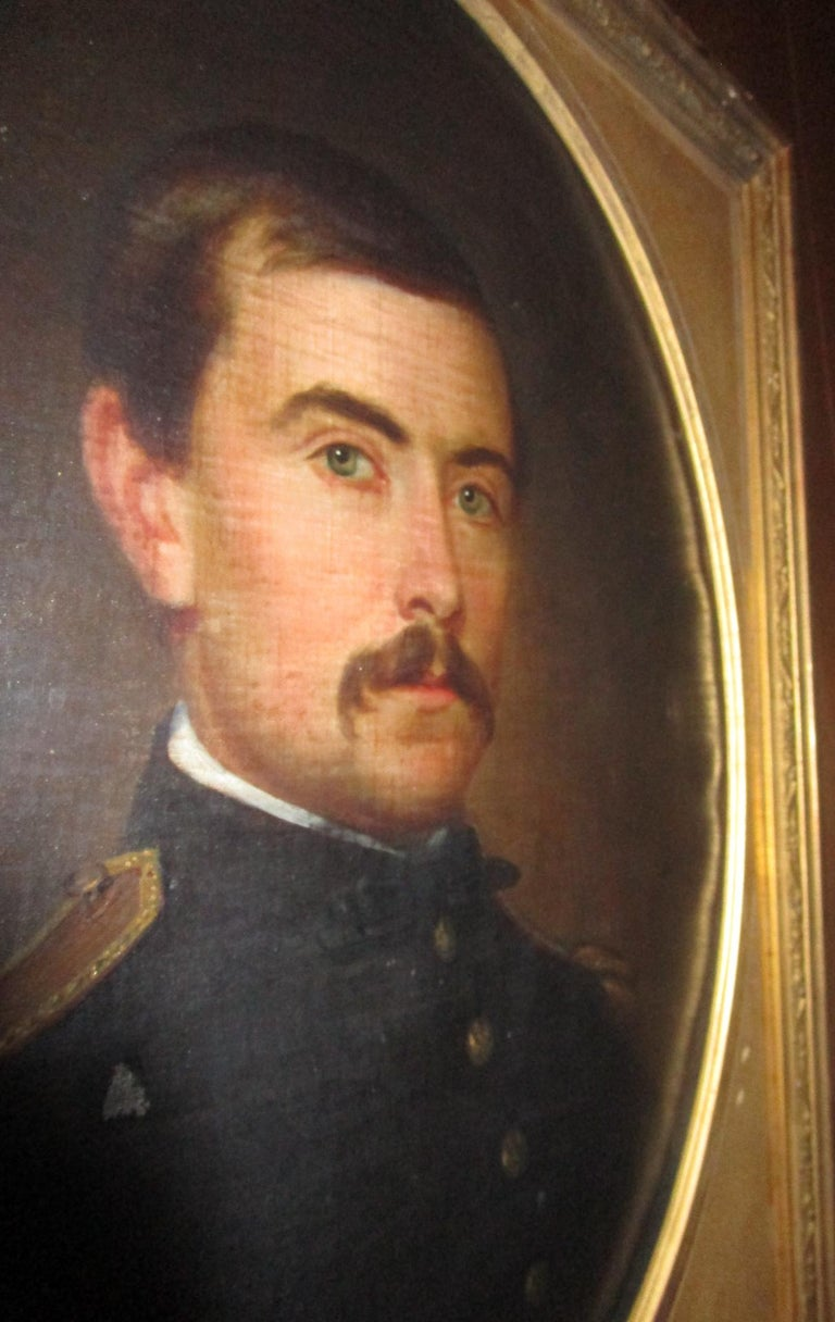 19th century American Civil War Union Army Officer Framed Portrait Oil on Canvas For Sale 3