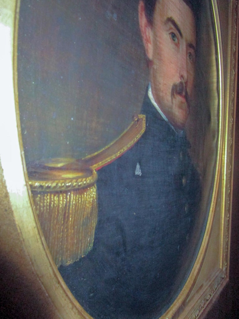 19th century American Civil War Union Army Officer Framed Portrait Oil on Canvas For Sale 4