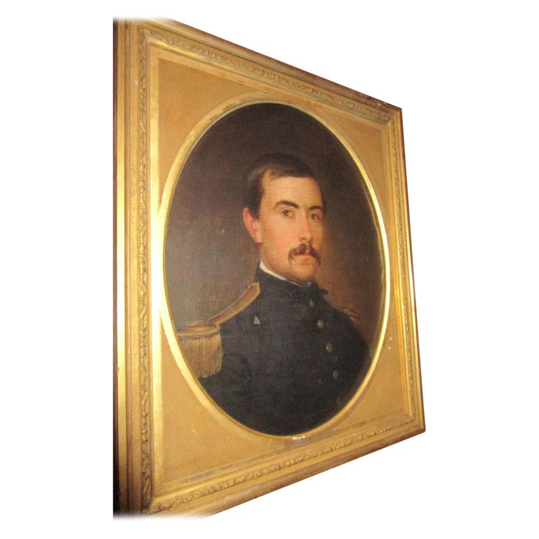 19th century American Civil War Union Army Officer Framed Portrait Oil on Canvas For Sale