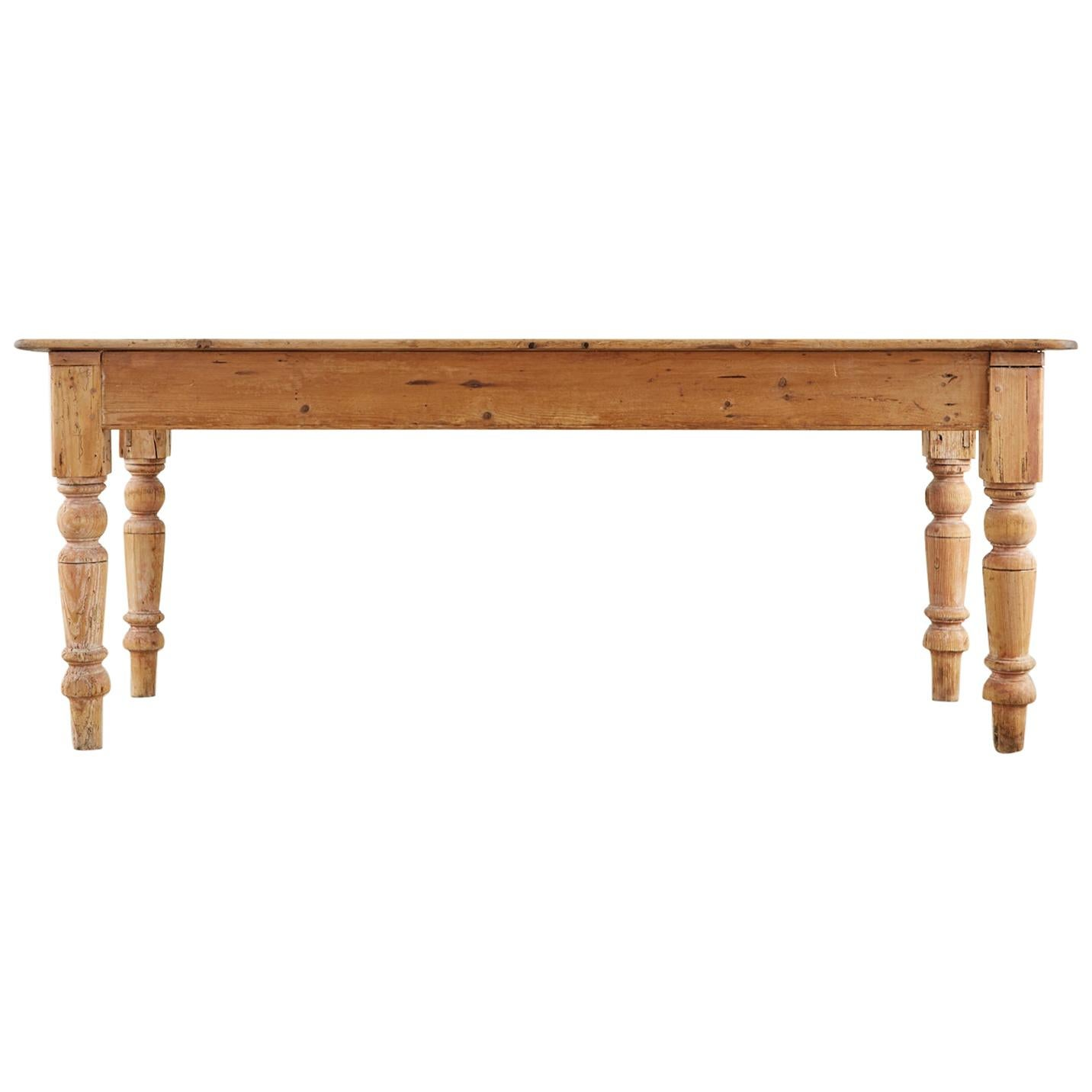 19th Century American Country Pine Farmhouse Dining Table