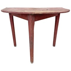 19th Century American Demilune Table