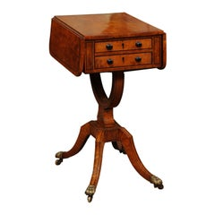 19th Century American Drop Leaf Sewing Table in Birdseye Maple