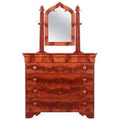 19th Century American Empire Flame Mahogany Dresser with Mirror