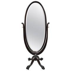 19th Century American Empire Mahogany Revolving Oval Cheval Dressing Mirror Tall
