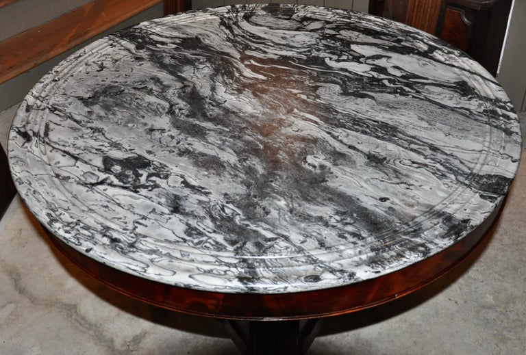 American Empire neoclassical Empire center table with marble top